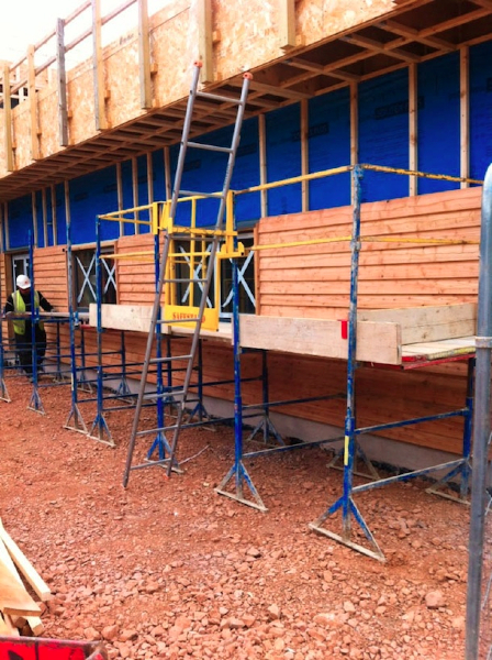 04 Timber Cladding - particularly with the increase in popularity of single storey timber clad construction, SafeStand has proved invaluable where a heavy duty, low level and stable work platform is required on the outside of buildings under construction.